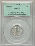 Seated Dimes: , 1889-S 10C MS62 PCGS. PCGS Population: (14/42). NGC Census: (12/34). Mintage 972,678. ...