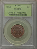 Two Cent Pieces: , 1868 2C MS64 Red and Brown PCGS. PCGS Population: (185/72). NGC Census: (107/84). CDN: $450 Whsle. Bid for problem-free NGC...