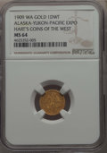 Expositions and Fairs, 1909 1 DWT Alaska-Yukon-Pacific Exposition MS64 NGC. Hart's Coins of the West. Varieties are listed at MEHartGold.com....