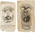 Political:Ribbons & Badges, James K. Polk and Henry Clay: A Pair of 1844 Silk Campaign Ribbons.... (Total: 2 Items)