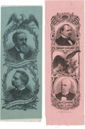 Political:Ribbons & Badges, Cleveland & Stevenson and Harrison & Reid: Pair of Jugate Ribbons in Bold Colors.... (Total: 2 Items)