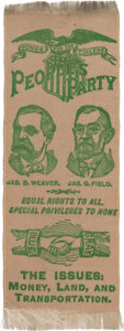 Political:Ribbons & Badges, Weaver & Field: Dynamic People's Party Jugate Ribbon with Great Slogans....