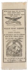 """Political:Ribbons & Badges, William Henry Harrison: Wonderful and Possibly Unique """"New Era"""" Inauguration Ribbon...."""