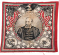 Political:Textile Display (pre-1896), Benjamin Harrison: Highly Graphic and Sought-after Bandana....