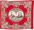 Political:Textile Display (pre-1896), Blaine & Logan: Jugate Turkey Red Cotton Bandana....