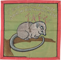 """Political:Textile Display (1896-present), William Howard Taft: Charming """"Billy Possum"""" Pillow Cover. ..."""