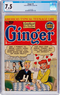 Ginger #9 (Archie, 1954) CGC VF- 7.5 Off-white pages