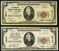 National Bank Notes:California, Los Angeles, CA - $20 1929 Ty. 2 The Farmers & Merchants NB Ch. # 6617;. San Francisco, CA - $20 1929 Ty. 1 Bank o... (Total: 2 notes)