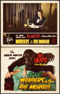 """Movie Posters:Horror, Murders in the Rue Morgue (Realart/Film Classics, R-1948). Title Lobby Card & Lobby Card (11"""" X 14"""").. ... (Total: 2 Items)"""