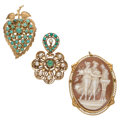 Estate Jewelry:Brooches - Pins, Multi-Stone, Shell Cameo, Cultured Pearl, Gold Brooches. ...(Total: 3 Items)