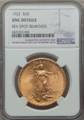 Saint-Gaudens Double Eagles: , 1922 $20 -- Rev Spot Removed -- Details NGC. UNC. NGC Census: (391/55649). PCGS Population: (529/43626). MS60. Mintage 1,37...