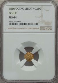 1856 25C Liberty Octagonal 25 Cents, BG-111, R.3, MS64 Details NGC. NGC Census: (19/14). PCGS Population: (43/13). ...(P...
