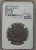 Colonials, 1722 PENNY Rosa Americana Penny, UTILE, -- Burnished -- Details NGC. XF. NGC Census: (4/17). PCGS Population: (6/51). . ...