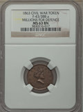 Civil War Tokens, 1863 Millions for Defence, Civil War Token, F-43/388 a, MS63 BrownNGC. ...