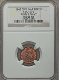 Civil War Tokens, 1863 Army Navy, Civil War Token, F-15/319 a, MS66 Red and BrownNGC....
