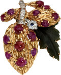 Estate Jewelry:Brooches - Pins, Multi-Stone, Diamond, Platinum-Topped Gold, Gold Brooch . ...