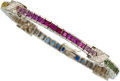 Estate Jewelry:Bracelets, Multi-Color Sapphire, Diamond, White Gold Bracelet . ...