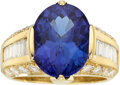 Estate Jewelry:Rings, Tanzanite, Diamond, Gold Ring The ring feature...