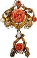 Estate Jewelry:Brooches - Pins, Coral, Cultured Pearl, Seed Pearl, Gold Brooch. ...