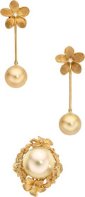 Estate Jewelry:Suites, South Sea Cultured Pearl, Diamond, Gold Jewelry Suite, Denny Wong....