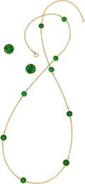 Estate Jewelry:Suites, Jade, Gold Jewelry Suite  The suite includes: ...