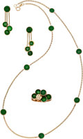Estate Jewelry:Suites, Jade, Gold Jewelry Suite. ... (Total: 3 Items)