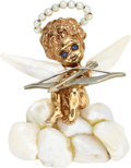 Estate Jewelry:Brooches - Pins, Cultured Pearl, Sapphire, Gold Brooch, Ruser. ...