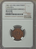 Civil War Tokens, (1861-65) Knickerbocker Currency, Civil War Token, F-255/390a, MS63Brown NGC....