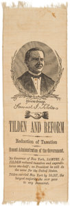 Political:Ribbons & Badges, Samuel J. Tilden: The Best Ribbon Design for this Tough 1876 Candidate....