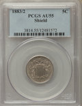 Shield Nickels, 1883/2 5C FS-301 AU55 PCGS....