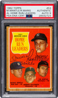 Autographs:Sports Cards, Signed 1962 Topps Mantle/Maris - AL Home Run Leaders #53 PSA/DNAMint 9. ...
