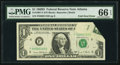 Error Notes:Foldovers, Fold Over Error Fr. 1907-F $1 1969D Federal Reserve Note. PMG GemUncirculated 66 EPQ.. ...