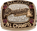 Baseball Collectibles:Others, 1996 Atlanta Braves National League Championship Ring Presented to Pitcher Tom Thobe, With Original Decorative Wooden Box. ...