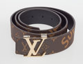 General Americana, Supreme X Louis Vuitton. Supreme LV Initiales, 2016. Brownleather belt . 1-1/2 x 44 inches (3.8 x 1...