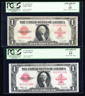 Large Size:Legal Tender Notes, Fr. 40 $1 1923 Legal Tenders Two Examples Apparent PCGS Fi...