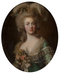 Fine Art - Painting, European:Antique  (Pre 1900), Circle of Alexander Roslin . Portrait of a Lady, half-length,wearing a green dress trimmed with lace and her hair adorned...