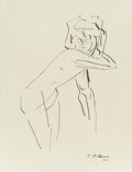 Fine Art - Work on Paper:Drawing, José Clemente Orozco (Mexican, 1883-1949). Female Nude,1945. Ink on paper. 17-1/2 x 11-1/2 inches (44.5 x 29.2 cm) (she...