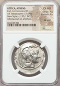Ancients:Greek, Ancients: ATTICA. Athens. Ca. 165-42 BC. AR tetradrachm (17.04 gm).NGC Choice AU 4/5 - 4/5, die shift....