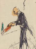 Fine Art - Work on Paper:Drawing, LeRoy Neiman (American, 1921-2012). Waiter with CrepeSuzette, 1961. Ink on paper laid on board. 9 x 7 inches (22.9 x17...