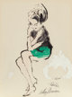 LeRoy Neiman (American, 1921-2012) Therese, 1962 Ink and acrylic on paper 15-1/8 x 11-1/2 inches (38.4 x 29.2 cm) S
