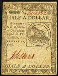 Colonial Notes:Continental Congress Issues, Continental Currency February 17, 1776 $1/2 Very Fine.. ...