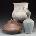 Asian:Other, Three Ethnographic Pottery and Iron Vessels. 15-1/2 inches high(39.4 cm) (largest vessel, including stand). ... (Total: 3 Items)