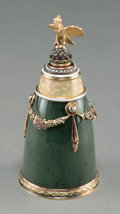 Decorative Arts, Continental:Other , A Fabergé-Style 14K Vari-Color Gold, Diamond, Pearl, and SpinachJade Scent Bottle, 20th century. Pseudo marks: (left facing...