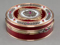 Decorative Arts, Continental:Other , A Fabergé-Style 14K Vari-Color Gold, Diamond, and Enamel Snuff Box,20th century. Pseudo marks: (right facing Kokoshnik-56)...