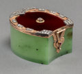 Decorative Arts, Continental:Other , A Fabergé-Style 14K Gold, Diamond, and Spinach JadeHorseshoe-Shaped Snuff Box, 20th century. Pseudo marks: (rightfacing Ko...