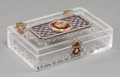Decorative Arts, Continental:Other , A Fabergé-Style 14K Gold, Silver, Diamond, Enamel, and Rock CrystalCase, 20th century. Marks: (56). 1 h x 3-1/2 w x 2-1/4 d...