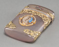 Decorative Arts, Continental:Other , A Fabergé-Style 14K Vari-Color Gold, Diamond, and Agate Case withInset Portrait, 20th century . Pseudo marks: (right facing...