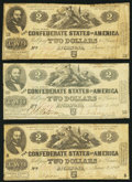 Confederate Notes, T42 $2 1862 PF-5 Cr. 337. Three Examples.. ... (Total: 3 notes)
