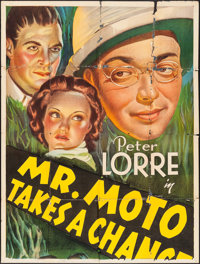 "Mr. Moto Takes a Chance (20th Century Fox, 1938). Partial Stone Litho Three Sheet (41"" X 57.75""). Mystery"