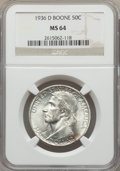 Commemorative Silver, 1936-D 50C Boone MS64 NGC. NGC Census: (206/615). PCGS Population: (424/911). CDN: $150 Whsle. Bid for problem-free NGC/PCG...
